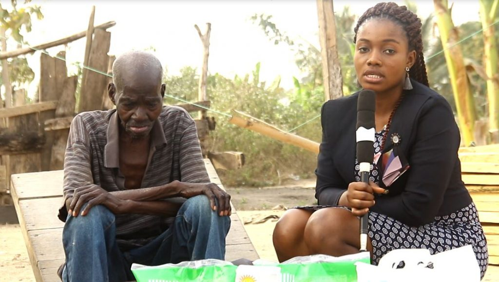 It was all tears of joy as Crime Check Foundation CCF pays a visit to 110 year old ex-convict Akobilla at Amomaso in the Ashanti Region of Ghana.