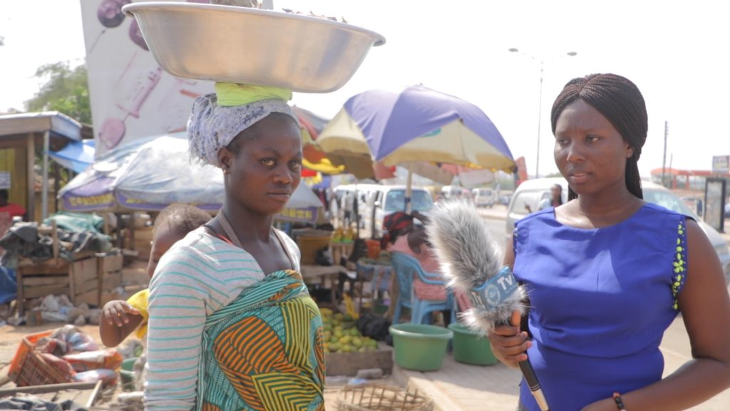 Esther from Kasoa Nyayano in the Central Region of Ghana could not hide her tears as she carried her child at her back to sell fish in the hot sun at Mallam market in Accra.
