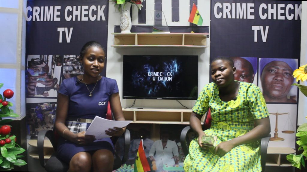 Janet Ledi shows excitement as Crime Check Foundation, CCF supports her once again through her second term education at Nkawkaw Senior High School.